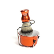 Via Barberia Synthetic Shaving Brush, Bowl & Stand.