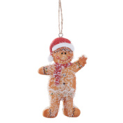 Hanging Christmas Tree Ornaments Mr & Mrs Gingerbread Man Decoration Pair