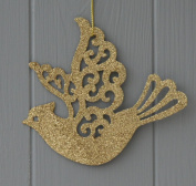 Pair Of Gold Glitter Doves Christmas Tree Decorations
