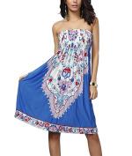 Sexy Women Boho Ethnic Floral Printed Strapless Sleeveless Bandeau Evening Beach Dress Short Casual Summer Mini Sundress – Landove