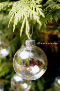 12 X Iridescent Round Glass Christmas Tree Baubles Spheres Ornaments Decoration