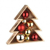 Wooden Christmas Tree With Red & Gold Baubles Indoor Display