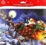 Adult's Christmas Advent Calendar - Traditional Santa Claus & Sleigh 20cm X 25cm