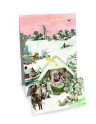 Mini Advent Calendar Christmas Card - Christmas Panorama - Nativity Scene