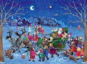 Twilight Santa Claus Sleigh And Reindeer Card Advent Calendar A4 With Envelope