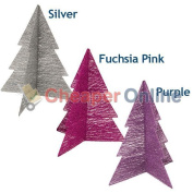 46cm Cotton & Wire Christmas Trees With Glitter In Purple,silver & Fuchsia Pink