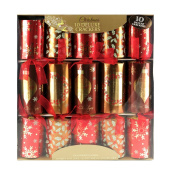 10 X Deluxe Christmas Crackers Mixture Of Gold And Red With Christmas Pattern