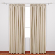 Deconovo Pencil Pleat Blackout Curtains Thermal Insulated Ready Made Curtains Super Soft for Girls Bedroom with 2 Tiebacks 140x175cm 2 Panels Beige