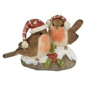Straits 2 Christmas Robins Glitter Ornament Style 17276