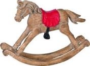 Decorative Christmas Rocking Horse Ornament - Wood Effect Resin - 15cm