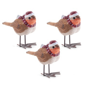 Set Of Three Christmas Robin Winter Bird Ornaments With Hats & Scarves