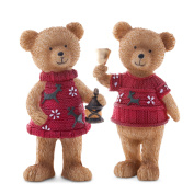 Set Of Two Cute Standing Polyresin Christmas Bear Ornaments In Red Jumpers