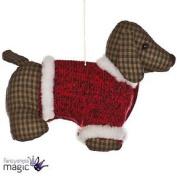 *fabric Tartan Sausage Dog Hanging Christmas Festive Xmas Tree Decoration 13cm*