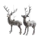 2 X 14cm Silver Deer W/ Hangers Christmas Xmas Plastic Glitter Snow Decoration