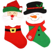 Santa Or Snowman Christmas Stocking - 48cm - Present Toy Bag
