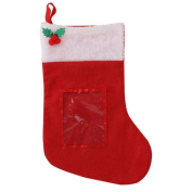 Personalise A Red Felt Stocking With Photo Pocket To Front & Holly Detail