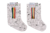 Colour Your Own Stocking + 5 Pens Kids Craft Christmas Home Xmas Decoration