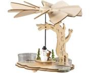 Wooden Christmas Pyramid Tealight Windmill. Snowman And Rabbit