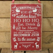 Wooden Christmas Slogan Phrases Hanging Plaque - Eat Drink And Be Merry Sign