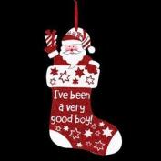 Christmas Red Glitter Plaque Decoration - Stocking Good Boy