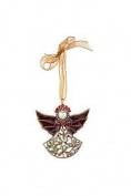 Vintage Style Angel Tree Decoration With Holly Design And Crystals