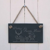 """Christmas Slate Hanging Sign - """"waiting For Santa Paws""""-a Fun Present For"""