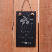 """Portrait Slate Hanging Sign Christmas - """"all I Want For Christmas Is You"""" - A"""