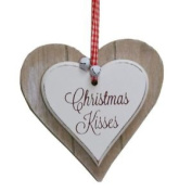 Wooden Hanging Heart Christmas Decoration - Christmas Kisses