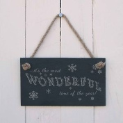 """Christmas Slate Hanging Sign - """"its The Most Wonderful Time Of The Year""""-a Fun"""