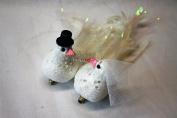 Bride & Groom Decorative Clip On White Doves Wedding Flower Cake