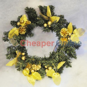 30cm Decorative Christmas Wreath In Gold