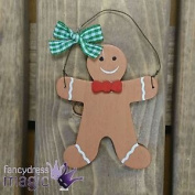 Christmas Ginger Bread Hanging Tree Wood Wooden Decoration Gingham Ribbon Bow