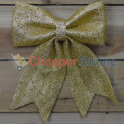 6 X Large Festive Gold Christmas Bow Decorations For Trees Garlands Wreaths