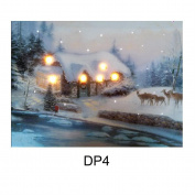 Christmas 40cm X 30cm Led Light Up Canvas Picture - House & Deer Dp4