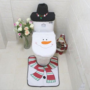 Starmo Christmas decoration toilet Set seat cover & rug & tissue box cover set - Snowman