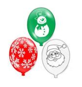 15 Christmas Latex Balloons - Party Decoration Red Green White Santa