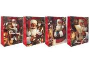 24cm X 18cm Traditional Christmas Santa Glitter Festive Bag