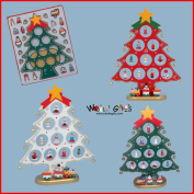 27cm Wooden Christmas Tree With 18 Ornaments & Train - White, Red Or Green