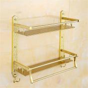 TRRE@ European Luxury High-grade Gold Double Shelf And Double Towel Bar Bathroom Rack Wall-mounted Bathroom Shelf