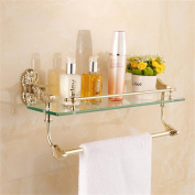 TRRE@ European Gold Glass Shelf Bathroom Towel Rack Bar Wall-mounted,53*14*22cm Bathroom Shelf