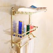 TRRE@ European Luxury Carved Golden Double Folded Towel Rack Towel Bar Bathroom Rack Wall-mounted Bathroom Shelf