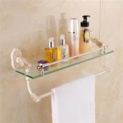 TRRE@ European Golden Plus White Glass Shelf Bathroom Towel Rack Bar Wall-mounted,53*14*22cm Bathroom Shelf