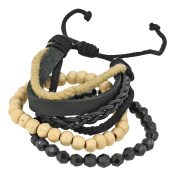 ShalinIndia Tan and Brown Leather Beaded Bracelet - Handmade - Layered Wrapped Bracelet - Perfect as an Anniversary Gift
