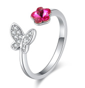 Fashion Pink Blue Butterfly Flower Crossover Adjustable Band Toe Ring with Crystal from , Unique Jewellery Gifts for Women Girls