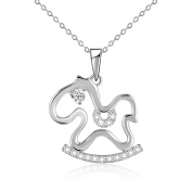Small Rocking Horse Pendant Necklace with Crystal from , Birthday Jewellery Gifts for Girls Kids, 46cm