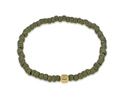 LUIS MORAIS Men's 14ct Yellow Gold Mini Faceted Green Beads Bracelet of Length 19.05-28.8cm