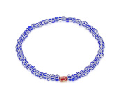 LUIS MORAIS Men's 14ct Yellow Gold Mini Faceted Blue and White Beads Bracelet of Length 19.05-28.8cm