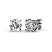 Private Twinkle 18ct White Gold stud earrings made with crystal from for Women