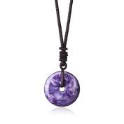 Genuine Semi Precious Stones Charoite Donut Pendant Chakra Pendant Necklace