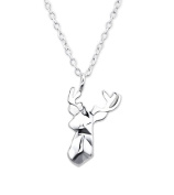 Origami Deer Necklace - 925 Sterling Silver - Pendant Size